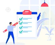 Man stands with big check list,Planning schedule concept banner with characters. Successful time management, planning. stock illustration