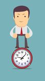 Man stands on the clock as symbol time management , Stock Photo