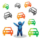 Man stands and colorful car. People symbol. vector illustration Stock Photo