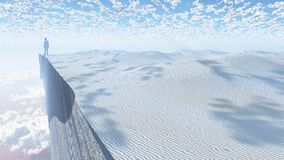 Desert cliff. Man stands on the edge of cliff. Human elements were created with 3D software and are not from any actual human likenesses vector illustration