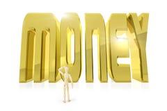 Man stands in front of huge golden word MONEY Stock Photos