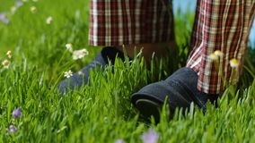 Man stands on the grass in Slippers. Male feet in sneakers on the grass Stock Photography