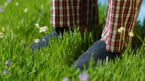 Man stands on the grass in Slippers. Male feet in sneakers on the grass Stock Photos