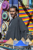 A man stands at his store in the Nubian village of Garb-Sohel in the Aswan region of Egypt. Royalty Free Stock Photos