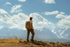 Man stands on the mountains background royalty free stock photo
