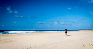 Man stands near Fernando de Noronha beach Stock Photos
