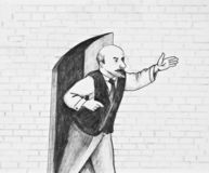 The man stands near the open door. And points into the distance royalty free illustration