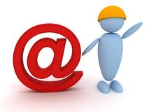 Man stands next to the email symbol. 3d image renderer Royalty Free Stock Images