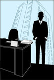 Man stands in the office near the table. Man stands in the office near to the table on a background of skyscrapers Royalty Free Stock Images