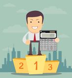 Man stands on a pedestal and showing calculator Royalty Free Stock Image