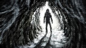 Man stands in rays of light at entrance to the cave. royalty free illustration