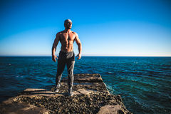 Man stands on a rock by the sea against the sky Stock Images