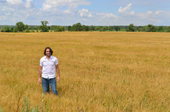 Man stands on the rye field Stock Image