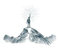 Man stands on top of mountain with torch in hand. Business, achieving goal, success, discovery concept. Sketch vector. Man stands on top of mountain with torch vector illustration