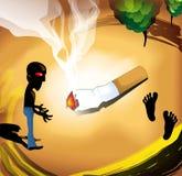 Man staring at burning cigarette Royalty Free Stock Image