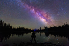 Man staring at the night sky. with the Milky Way Royalty Free Stock Photography