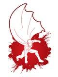 man starkt Landa kraftig handling för Superhero stock illustrationer