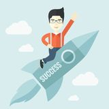 Man in start-up ,business. A man flying on the rocket raising his hand in the air as his start up. Success concept. A Contemporary style with pastel palette Stock Photo