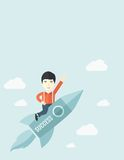 Man in start-up ,business. A man flying on the rocket raising his hand in the air as his start up. Success concept. A Contemporary style with pastel palette Stock Images