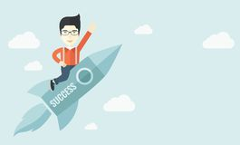 Man in start-up ,business. A man flying on the rocket raising his hand in the air as his start up. Success concept. A Contemporary style with pastel palette Stock Image