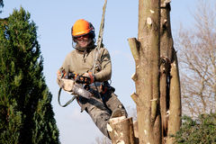 Man starting chainsaw royalty free stock photos