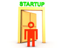 Man at the startup door Stock Images