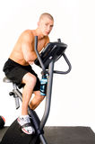 Man on Stationary Bike Stock Photo