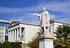 Man statue on university Athens Greece Royalty Free Stock Images