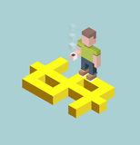 Man stay on giant dollar sign, isometric cubes composition.. Man stay on giant dollar sign, isometric cubes composition. Financial success, investment question Stock Photos