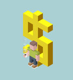 Man stay with giant dollar sign, isometric cubes composition. Financial success, valuable employee, savings, deposit, big profit c. Oncepts. Vector illustration Royalty Free Stock Image