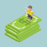 Man stay on giant dollars, isometric cubes composition.. Man stay on giant dollars, isometric cubes composition. Financial success, investment question Stock Image