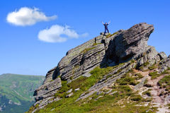 Man stay on mountain top Royalty Free Stock Images