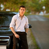 Man staying close to his car Stock Photos