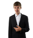 Man is staying and sneer. Man is staying, sneer and point out royalty free stock photo