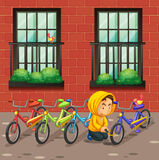 Man stealing bike in front of the building. Illustration Royalty Free Stock Images