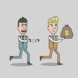 A man stealing money from business man. Vector, illustration Royalty Free Stock Photo