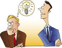 Man steals an idea stock illustration