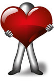 A man from steel is giving his heart away. Royalty Free Stock Images