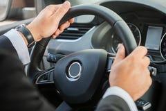 Man steering wheel. Royalty Free Stock Image