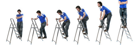 Man at step-ladders. The different view of young man going up step-ladders Stock Photo