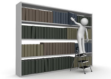Man on stepladder takes book from bookcase. 3d characters isolated on white background series vector illustration