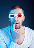 Man and  stereo glasses Stock Images