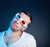 Man and stereo glasses Royalty Free Stock Photos