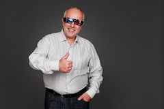 Man in stereo glasses showing thumbs up Royalty Free Stock Photo