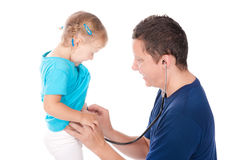 Man with stethoscope testing child Stock Photography