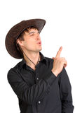 Man in stetson hat. Man portrait in the studio in the stetson hat Stock Images