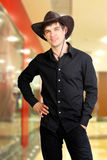 Man in stetson hat. Man portrait in the stetson hat Stock Photo