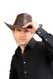 Man in stetson hat. Man portrait in the studio in the stetson hat. isolated on the white background Stock Photos