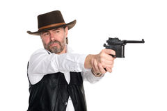 Man in stetson shot from pistol Stock Photos