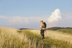 Man with stick on meadow looking back Royalty Free Stock Images